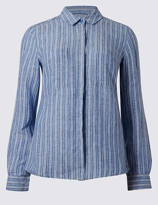 Marks and Spencer Pure Linen Striped Long Sleeve Shirt