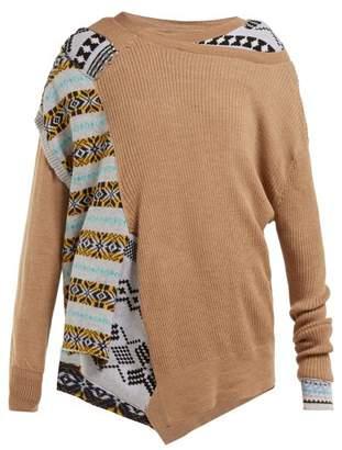 Preen by Thornton Bregazzi Ellie Patchwork Knit Wool Blend Sweater - Womens - Beige Multi