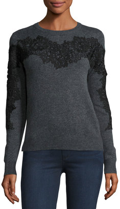 Philosophy Lace-Applique Pullover Sweater, Gray $125 thestylecure.com