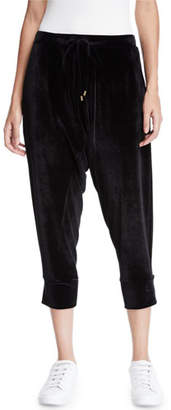 Eileen Fisher Stretch-Velvet Drawstring Cropped Slouchy Pants, Plus Size