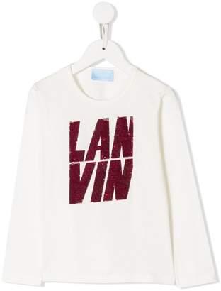 Lanvin Enfant sequin embroidered logo T-shirt