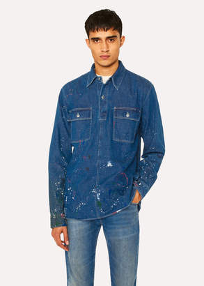 Paul Smith Men's Indigo Denim Red Ear Pop-Over Shirt With Paint Splatter