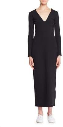 The Row Ninoh V-Neck Long-Sleeve Knit Midi Dress