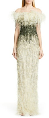 Pamella Roland Off the Shoulder Feather & Sequin Column Gown