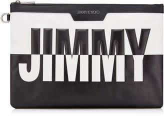 DEREK Black and White Bicolour Leather Document Holder with Embossed Logo