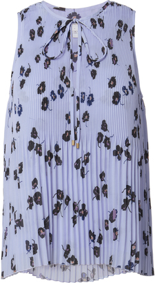 Derek Lam 10 Crosby Floral Pale Blue Pleated Top $350 thestylecure.com