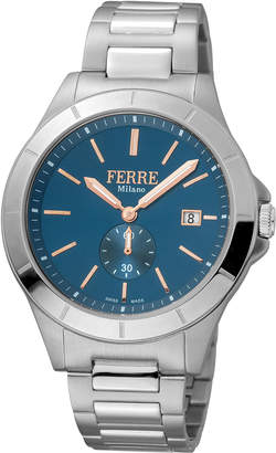 Ferré Milano Men's 43mm Stainless Steel Date Sub-Seconds Diver Watch with Bracelet Steel\/Navy