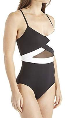 Anne Cole Mesh V-Neck One Piece Swimsuit