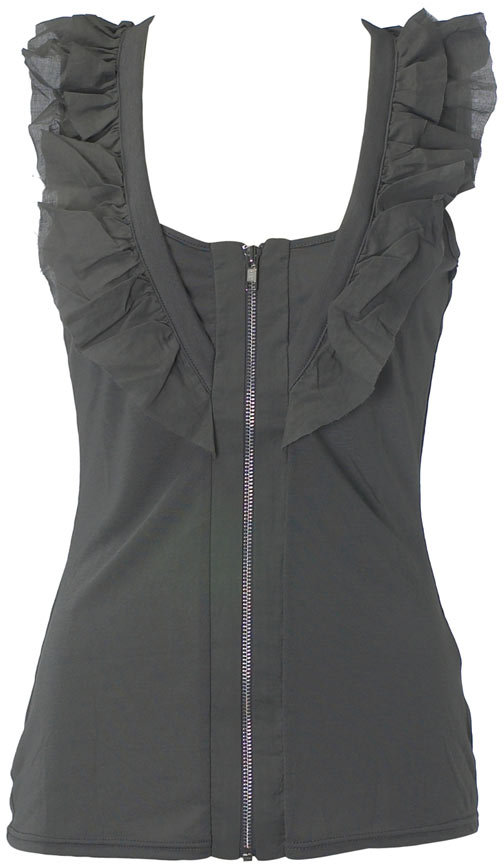 Grey zip frill vest