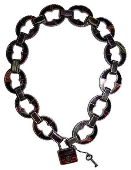 Bottega VenetaBottega Veneta Sterling Pad Lock Necklace