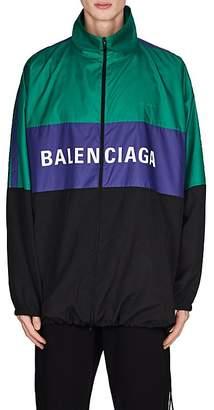 Balenciaga Men's Colorblocked Nylon Oversized Track Jacket