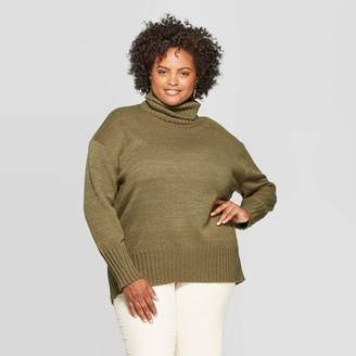 A New Day Women's Plus Size Long Sleeve Turtleneck Tunic Sweater