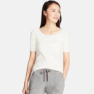 UNIQLO Women's Bra Ballet Neck Short Sleeve T-Shirt $19.90 thestylecure.com