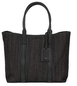 HUGO BOSS Italian-denim tote bag with leather trims