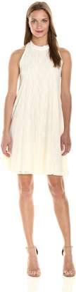 Star Vixen Women's Sleeveless Cutaway Shoulder Mock Neck Keyhole Back Dress