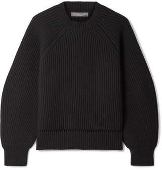Alexander McQueen Pointelle-trimmed Ribbed Wool And Cashmere-blend Sweater - Black
