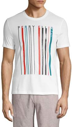 Perry Ellis Barcode-Print Cotton Blend Tee