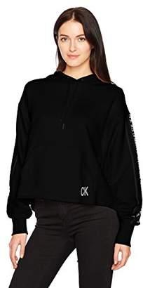 Calvin Klein Women's Oversized Crop Hoodie Logo Tape Detail