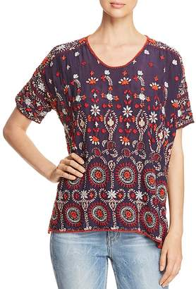 Johnny Was Melia Short-Sleeve Embroidered Blouse
