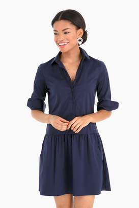 Americana The Shirt by Rochelle Behrens Navy Drop Waist Shirt Dress