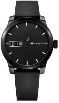 Tommy Hilfiger Black Analog Silicone Strap Watch