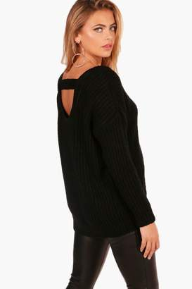 boohoo Oversized Strap Back Chunky Knit Jumper