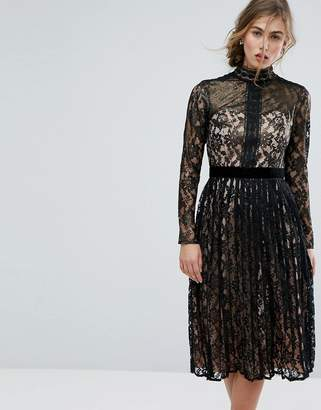 Little Mistress Allover Cutwork Lace Midi Dress