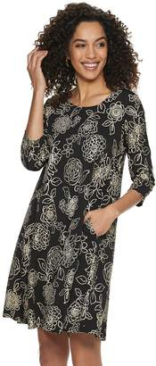 Nina Leonard Women's Nina Loneard Foil Floral Trapeze Dress
