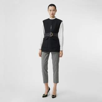 Burberry Keyhole Detail Sleeveless Wool Silk Top