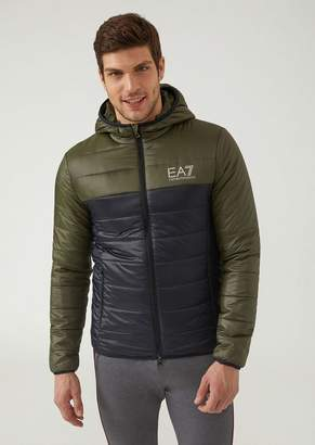 Emporio Armani Ea7 Padded Jacket In Technical Fabric With Hood And Logo