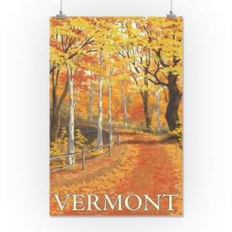 Vermont - Fall Colors Scene - Lantern Press Artwork (16x24 Giclee Gallery Print, Wall Decor Travel Poster)
