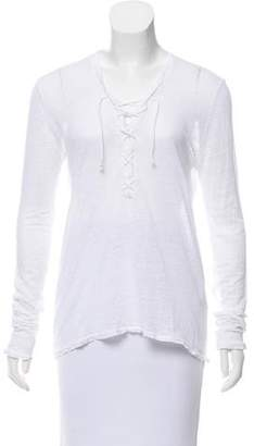 The Kooples Lace-Up Long Sleeve Top