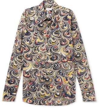 Dries Van Noten Marble-Print Cotton-Poplin Shirt