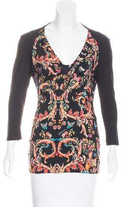 Just Cavalli Floral V-Neck Top