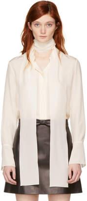 Chloé Ivory Silk Bow Scarf Shirt