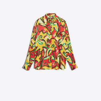 Balenciaga Scarf blouse in red and yellow couture flower silk satin crepe