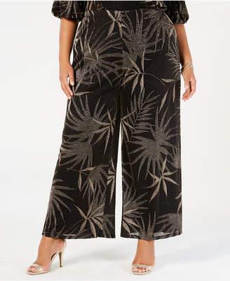 MSK Plus Size Metallic-Print Wide-Leg Pants