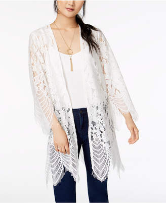 Love, Fire Juniors' Scalloped Lace Kimono