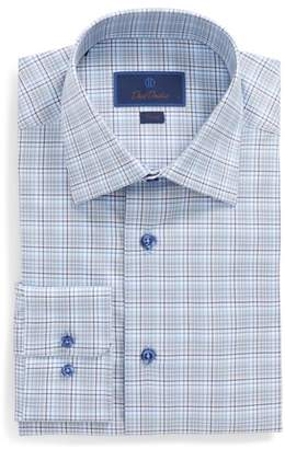 David Donahue Trim Fit Plaid Dress Shirt