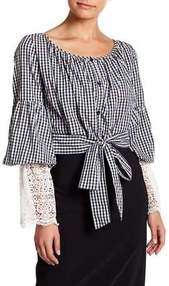 TOV Gingham Organza Kimono Long Sleeve Blouse
