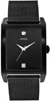 GUESS Mens Black Rectangular Watch with Diamonds