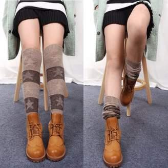 Mrosaa Fashion Women Crochet Knitted Stocking Leg Warmers Boot Cover Trim Legging Socks