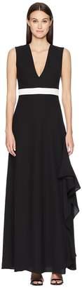 ML Monique Lhuillier Sleeveless Plunging V-Neck Side Slit Maxi Women's Dress