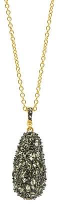Freida Rothman 14K Gold & Black Rhodium Plated CZ Pebble Stone Pendant Necklace