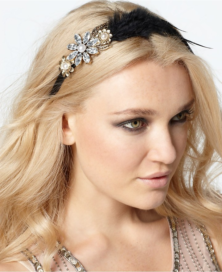 Spring Street Macy's Headband, Crystal Flower Feather