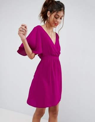 Asos Flutter Sleeve Cross Over Mini Dress