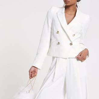 River Island Womens White crop double breasted tux blazer
