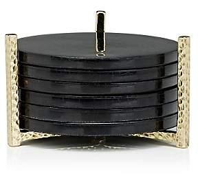 Ginger Brown Set of 6 Pen Shell Coasters & Brass Holder-Black