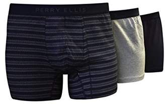 Perry Ellis Men's Portfolio 3 PK Birds Eye Stripe Cotton Stretch Boxer Briefs