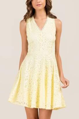 francesca's Selah V-Neck Corded Lace A-Line Dress - Lemonade
